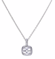 Diamonfire Square Solitaire & Pave Set Pendant