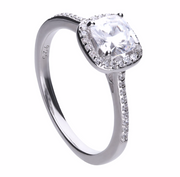 Diamonfire Square Solitaire & Pave Set Ring