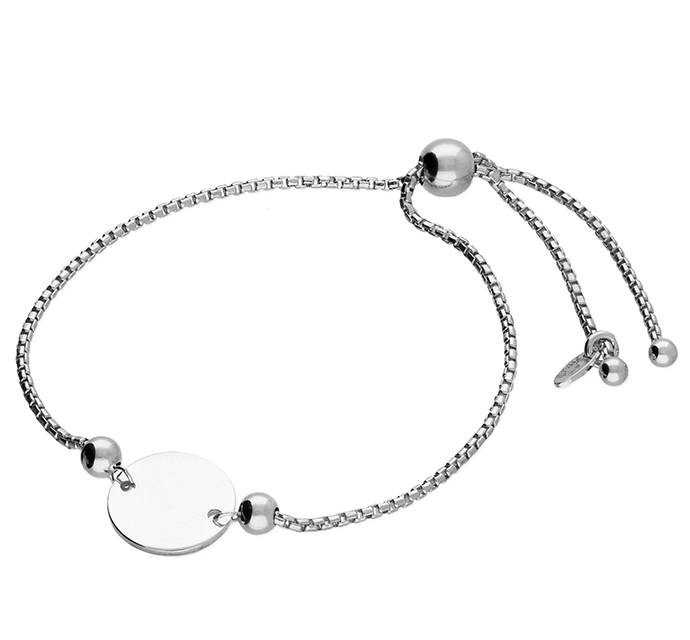 Silver Large Disc Slider Bracelet