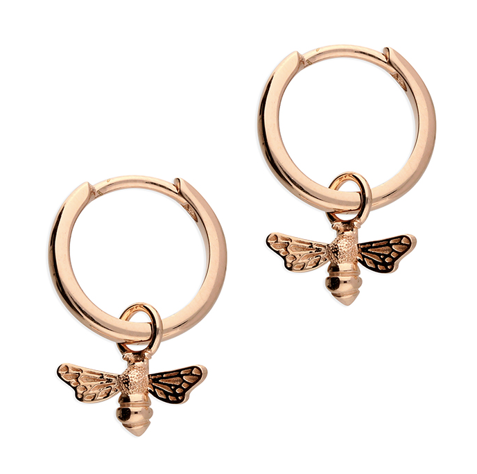Rose Gold Bee Huggie Hoop Earrings
