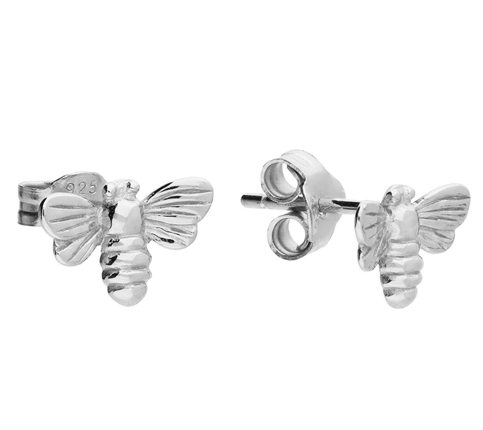 Silver Bumble Bee Stud Earrings