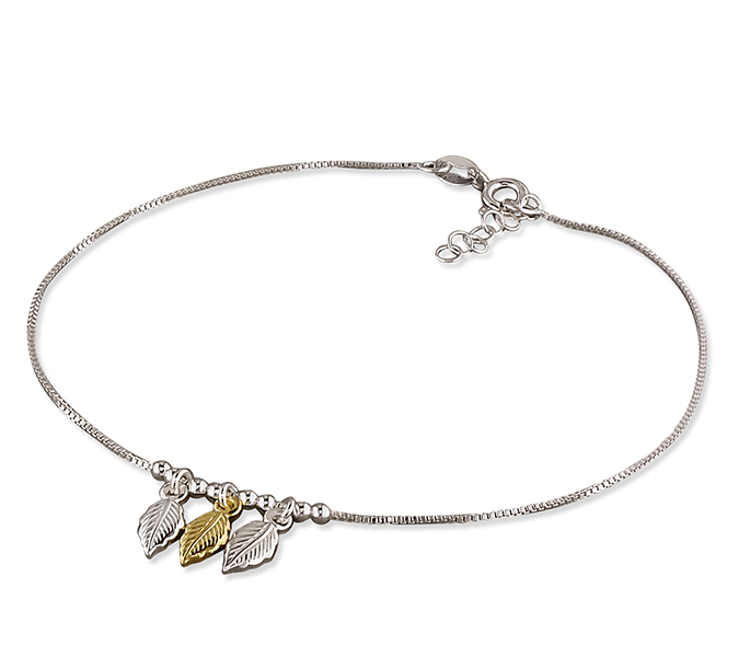 Silver & Gold Leaves Ankle Bracelet