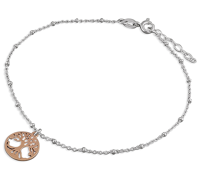 Silver & Rose Gold Tree of Life Ankle Bracelet