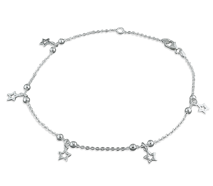 Silver Spaced Stars Ankle Bracelet