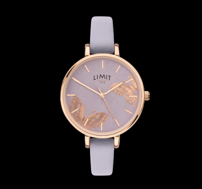 Rose Gold Butterfly & Lilac Strap Limit Watch