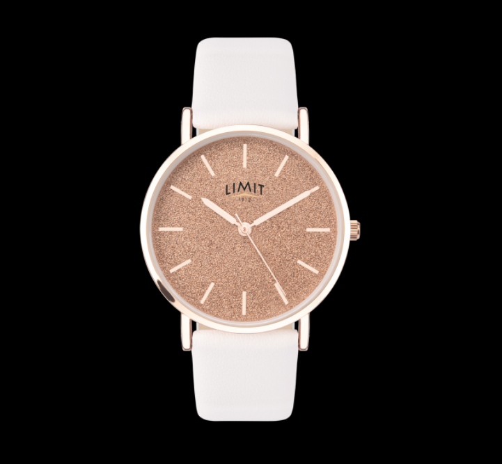 Rose Gold Glitter & White Strap Limit Watch