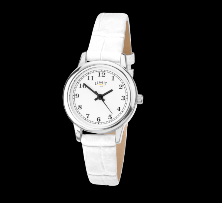 Silver & White Crocodile Strap Limit Watch