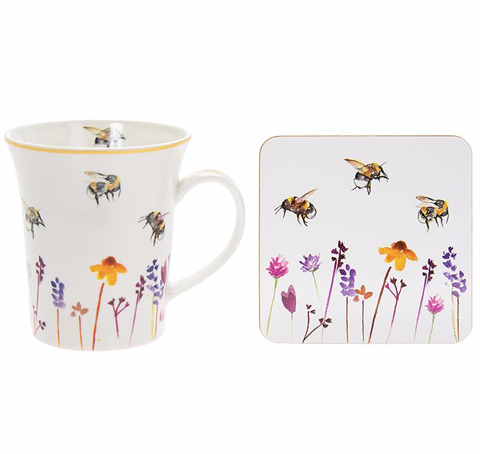 Painted Bee Mug & Coaster Gift Set