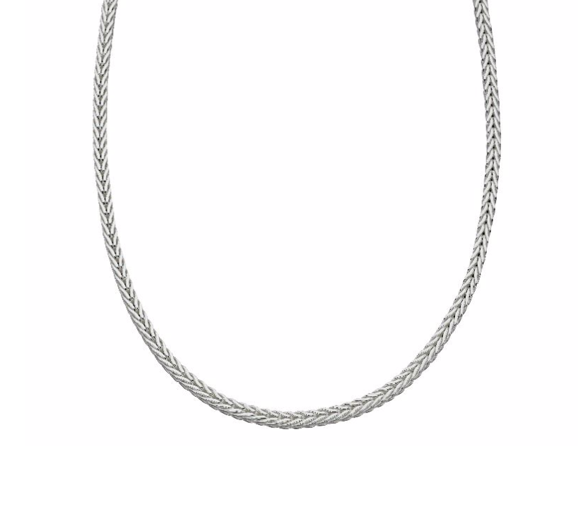 Mens Silver Foxtail Chain Necklace