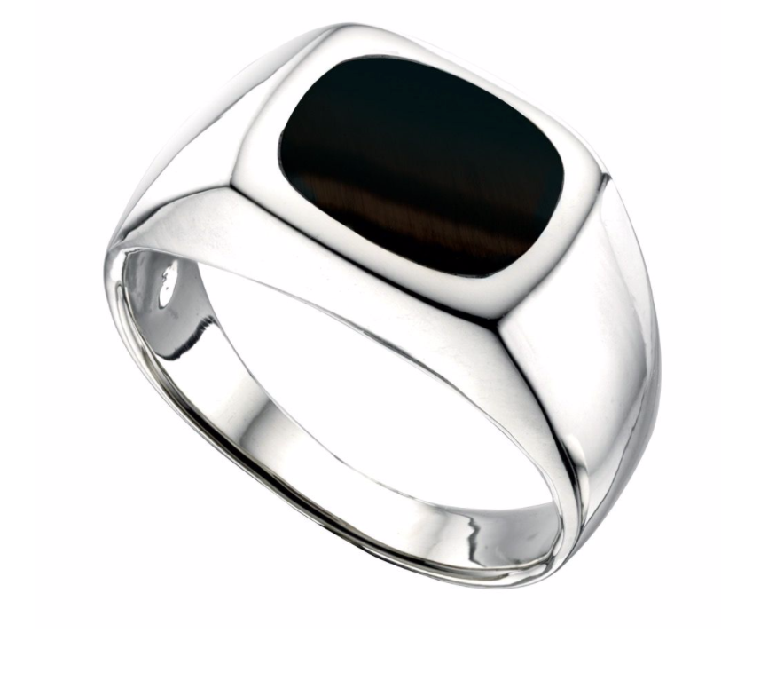 Mens Silver & Black Onyx Signet Ring