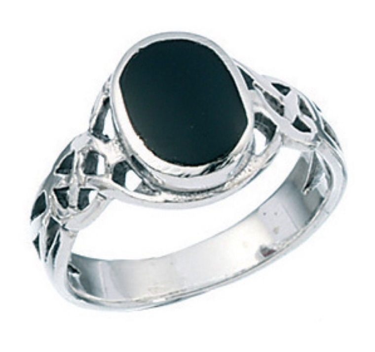 Mens Celtic Silver & Black Onyx Ring