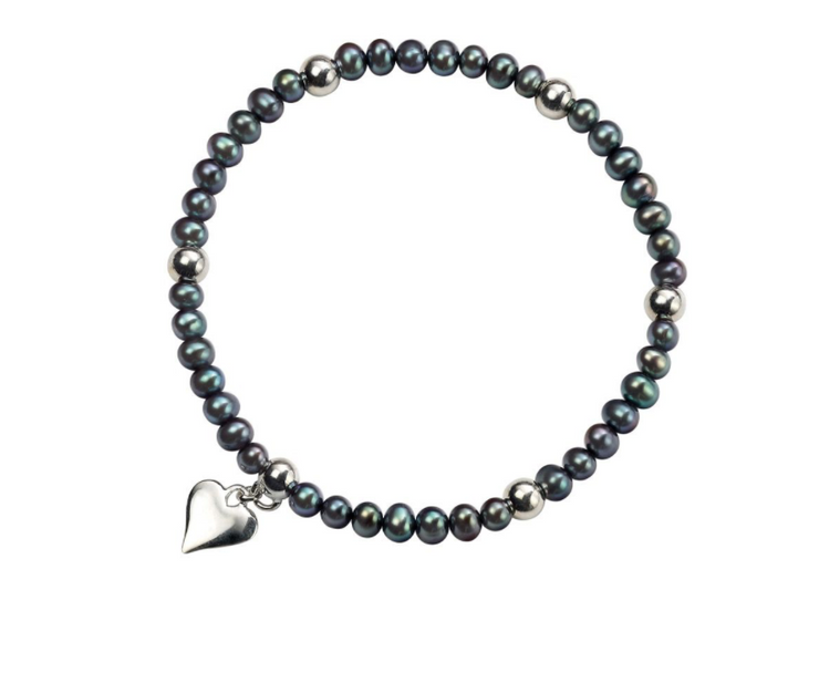 Black Fresh Water Pearl & Heart Charm Bracelet