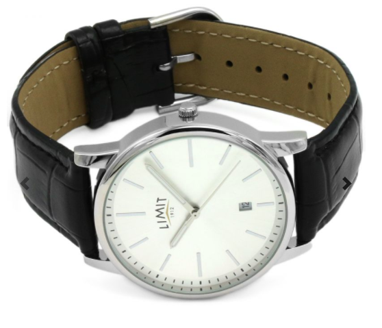 Mens Black Strap & Silver Face Limit Watch