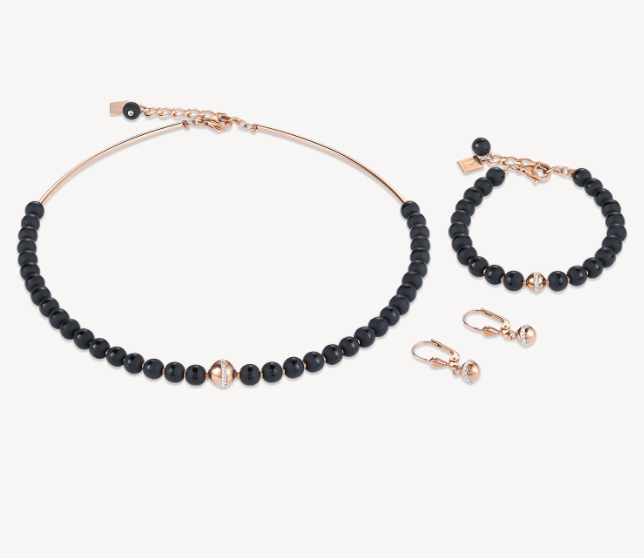 Coeur De Lion Black Onyx & Rose Gold Ball Necklace