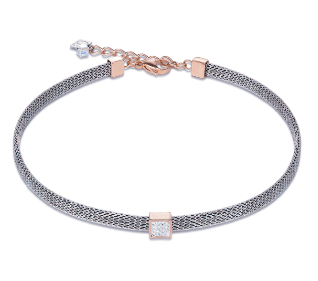Coeur De Lion Mesh & Rose Gold Square Necklace