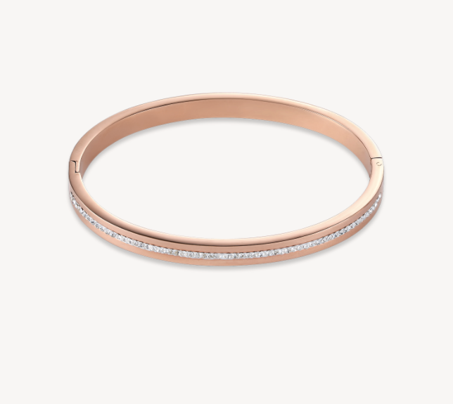 Coeur De Lion Rose Gold Swarovski Crystal Bangle
