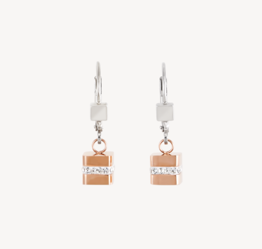 Coeur De Lion Rose Gold Cube Strip Drop Earrings