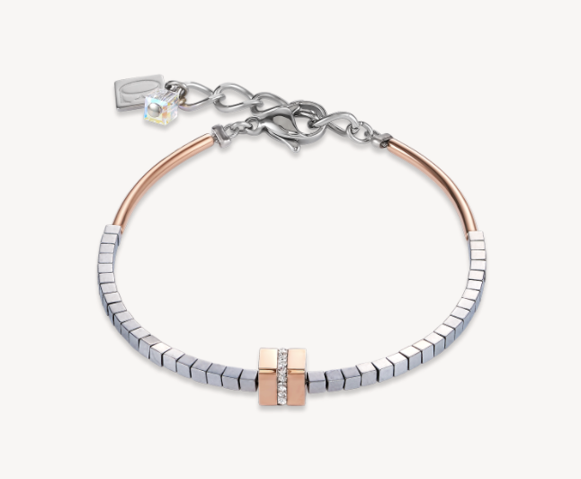 Coeur De Lion Haematite & Rose Gold Strip Cube Bracelet