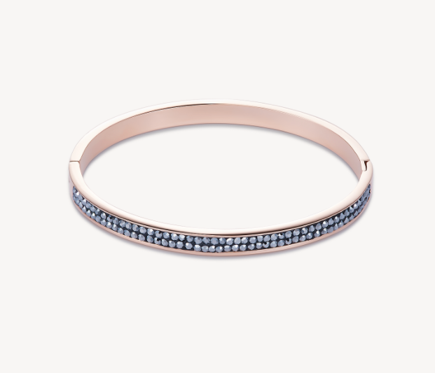 Coeur De Lion Rose Gold Double Grey Crystal Row Bangle