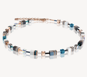 Coeur De Lion Rose Gold White & Petrol Turquoise GeoCUBE Necklace