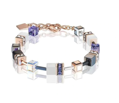 Coeur De Lion Rose Gold White & Purple GeoCUBE Bracelet