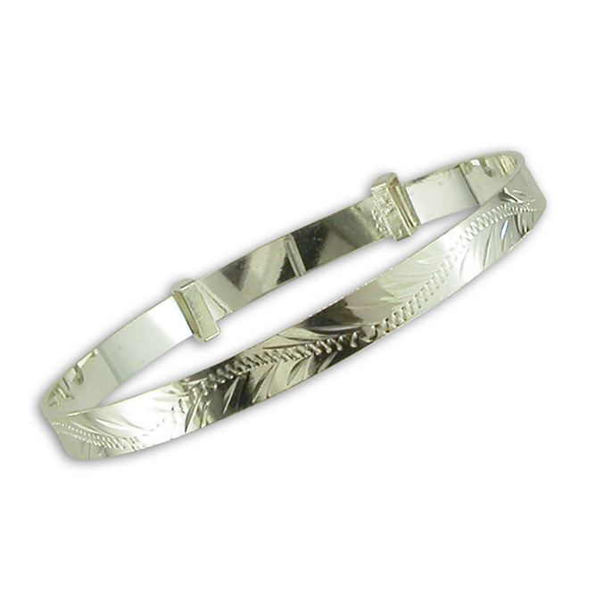 Silver Engraved Baby Bangle