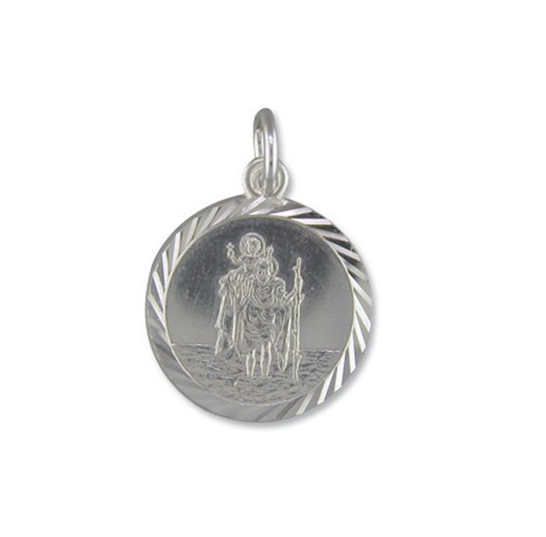 Silver ST Christopher Pendant 15mm