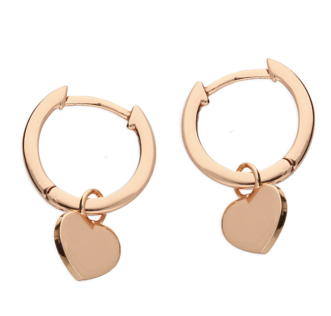 Rose Gold Heart Huggie Hoop Earrings