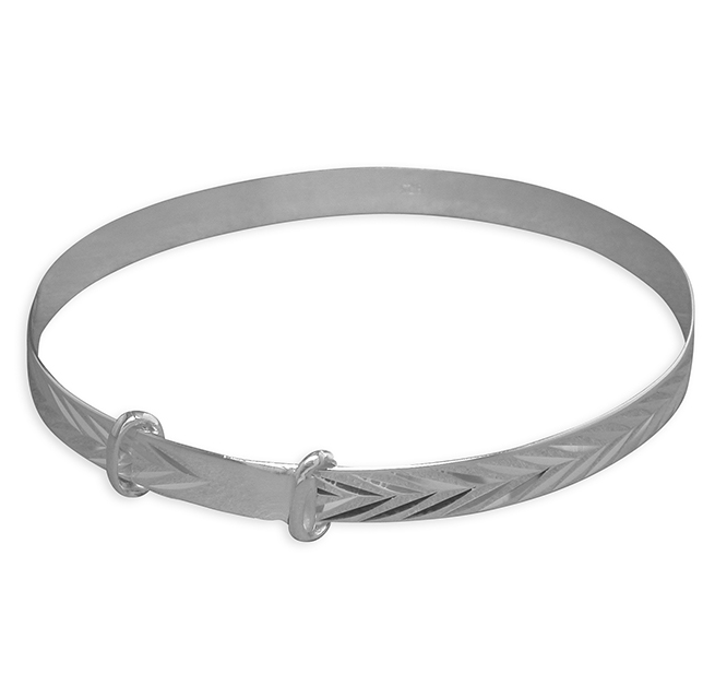 Silver Diamond Cut Expandable Baby Bangle