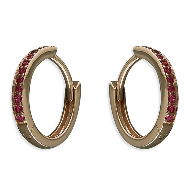 Rose Gold Ruby Crystal Huggie Hoop Earrings