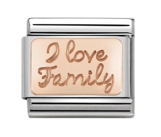 Nomination Rose Gold I Love Family Plate Charm