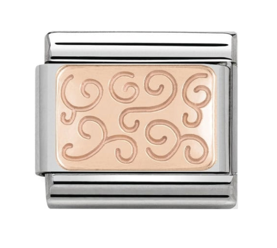 Nomination Rose Gold Swirls Plate Charm