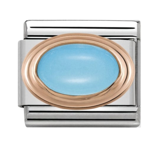Nomination Rose Gold Oval Turquoise Charm