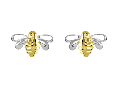 Dew Silver & Gold Bee Stud Earrings
