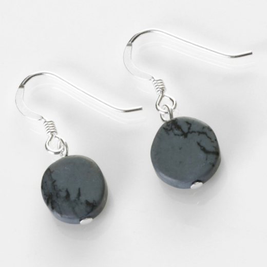 Carrie Elspeth Blue Raincloud Mosaic Coins Drop Earrings