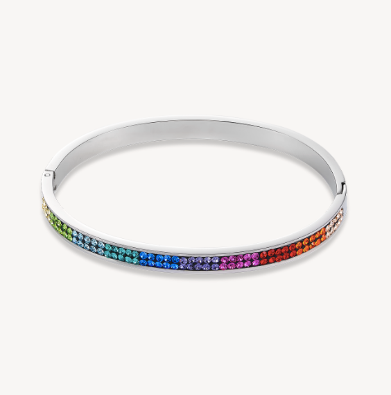 Coeur De Lion Silver Multicolour Rainbow Bangle