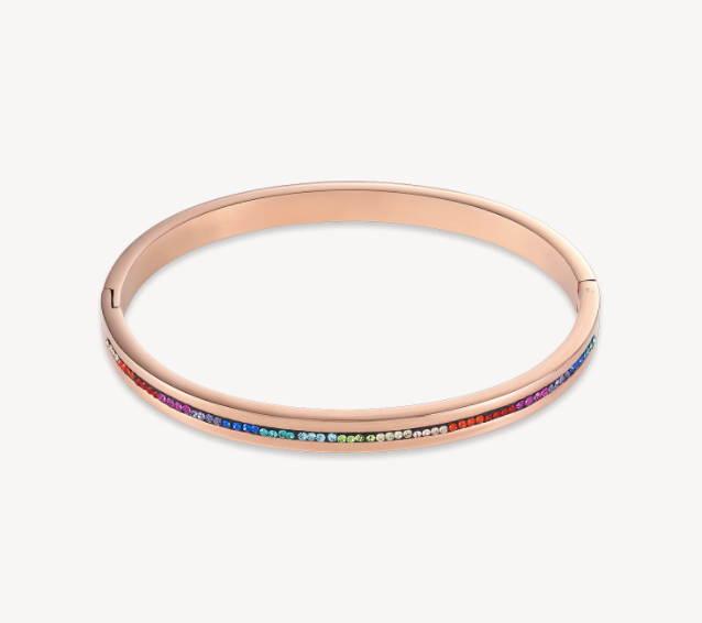 Coeur De Lion Rose Gold Multicolour Bangle