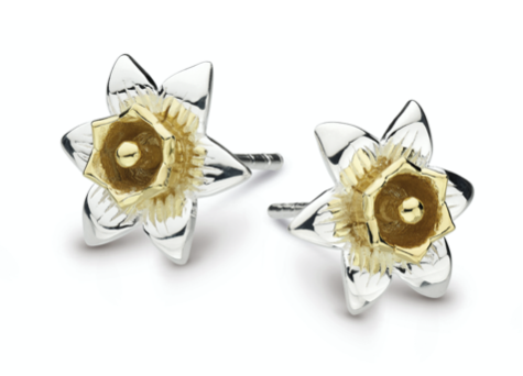 Dew Silver & Gold Daffodil Flower Stud Earrings