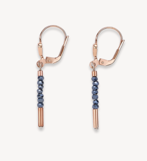 Coeur De Lion Rose Gold & Grey Anthracite Waterfall Drop Earrings