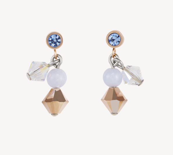 Coeur De Lion Chalzedony Light Blue Swarovski Crystal Stud Drop Earrings