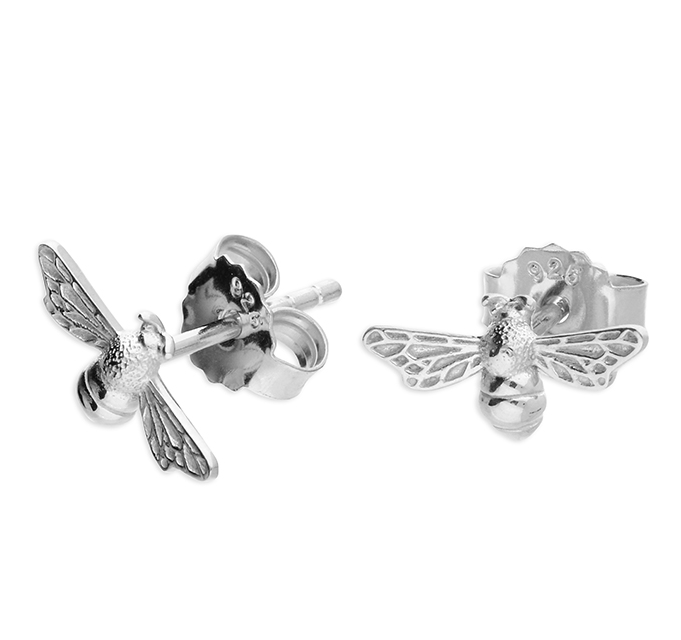 Silver Intricate Bee Stud Earrings