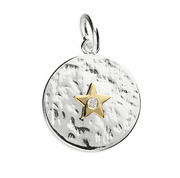 Gold CZ Star Disc Pendant