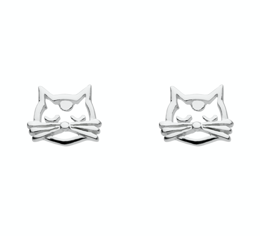 Dew Open Cat Face Stud Earrings