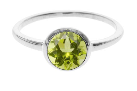 Round Facetted Peridot Ring