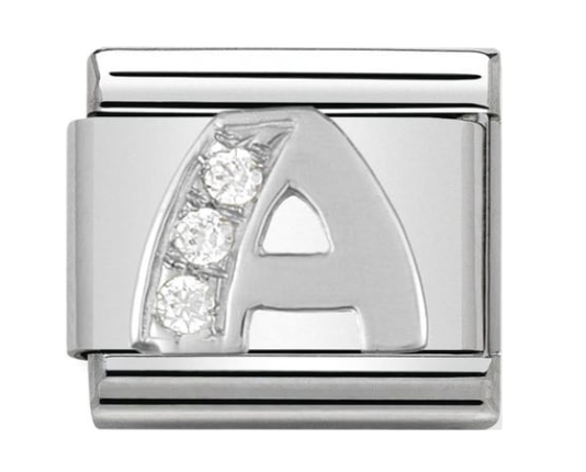 Nomination Silver CZ Letter A Charm