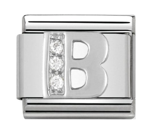 Nomination Silver CZ Letter B Charm