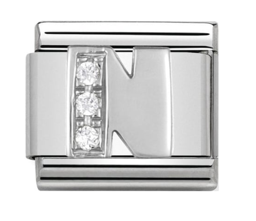 Nomination Silver CZ Letter N Charm