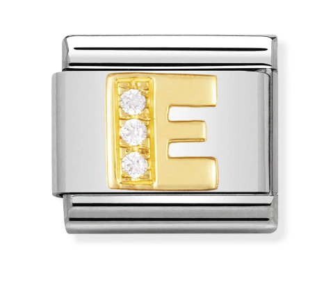 Nomination Gold CZ Letter E Charm