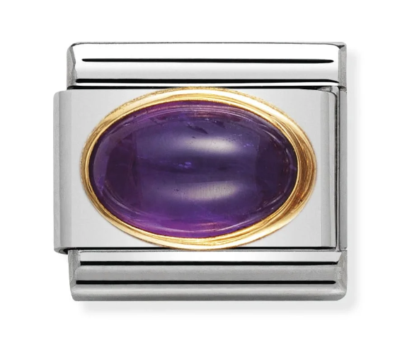 Nomination Gold Oval Purple Amethyst Charm