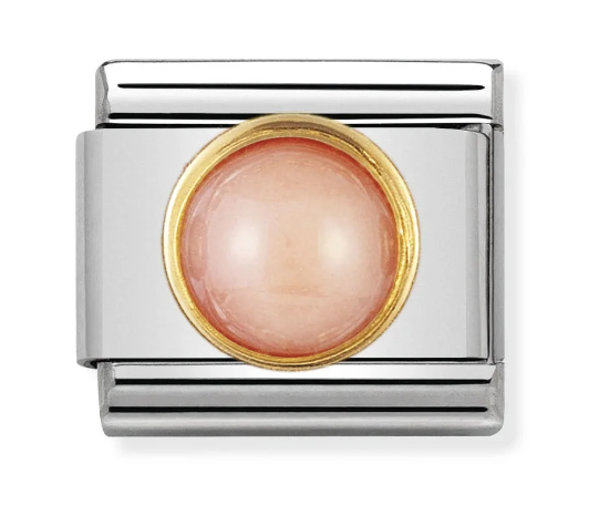 Nomination Gold Round Pink Coral Charm